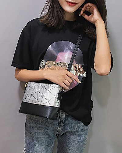 Body Shoulder Bag Cross Leather Bag Pattern Splice Diamond Bag Silver Silver Shells Women's Pu wpCEfyqB