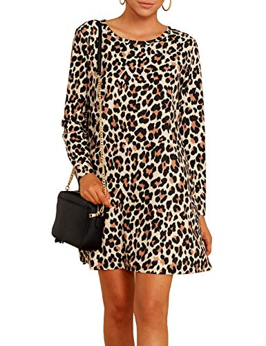 Ratilove Women's Leopard Print Mini Dress Fall Long Sleeve Cheetah Dresses for Women with Pockets S,Multicoloured