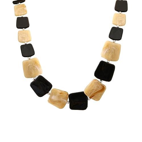 tumundo Collar Mujer Larga Cadena de Múltiples Bobinado Amarillo Naranja Marrón Beige Camisa Blusa Joyería de