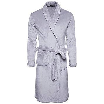 DAFREW Batas para Hombres, Este es un camisón de Pijamas, Grueso Mantén el Calor en el frío Invierno (Color : Gray, Tamaño : XL): Amazon.es: Jardín