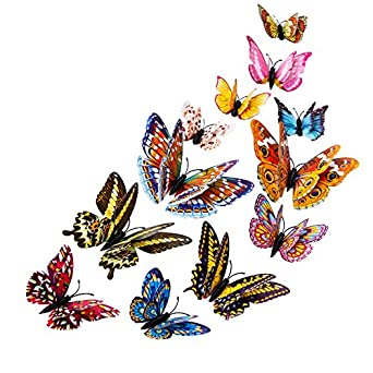 12pcs Decal Wall Stickers Home Decorations 3D Butterfly Colorful Christmas Party Home Decoration