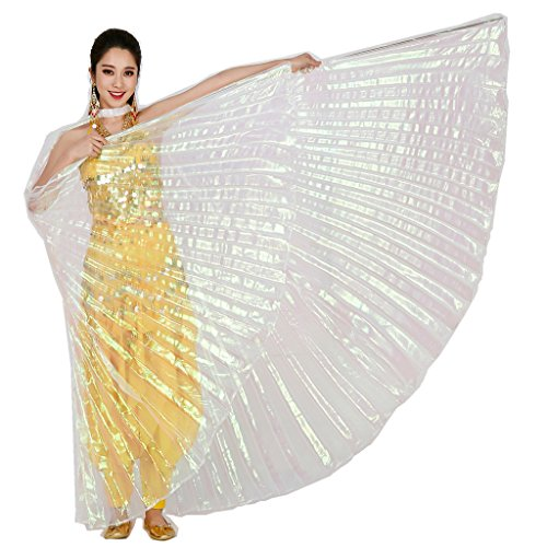 MUNAFIE Belly Dance Isis Wings with Sticks for Adult Belly Dance Costume Angel Wings for Halloween Carnival Performance white