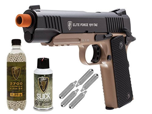 Elite Force 1911 TAC Full Metal CO2 Blow Back Airsoft Pistol (BLK/DEB) - Package Deal by Umarex