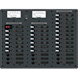 BLUE SEA SYSTEMS DC Distribution Panel, MFG# 8381, White toggle switch breakers and twin analog Volt/Amp meters. 1ea 100 Amp main, 23ea 15 Amp branch, 9ea open slots. 12 VDC. 14.75''W x 11.25''H. / BS-8381 /