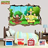 """AMAZING DECALZ Curious George Fun Swings Graphic Broken Wall 3D Sticker Decal Removable Mural Decor Art Wallpaper Baby Kids Children Nursery Living Room Peel & Stick (Giant (Height 36""""x 56"""" Wide))"""