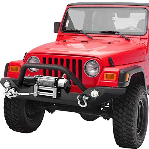 - LEDKINGDOMUS Rock Crawler Front Bumper for 87-06 Jeep Wrangler TJ/YJ with Winch Plate & LED Lights Heavy Duty (Textured Black)