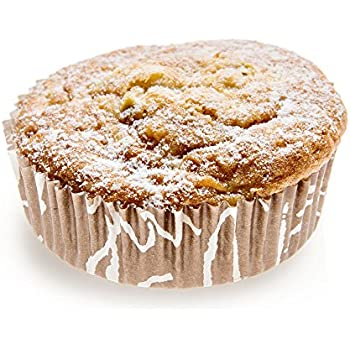 Panificio Premium 3.2 Inch, 4 Ounce Baking Cups: Regular-Ridged Round Paper Baking Cups Perfect for Muffins, Cupcakes or Mini Snacks - Brown Chocolate Wisp Print Design - Disposable - 200ct Box