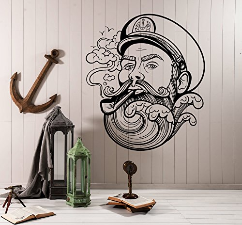 [Vinyl Wall Decal Sailor Beard Wave Nautical Marine Sea Stickers (ig4128) Black] (Nautical Beard)