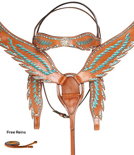 [BEAUTIFUL TURQUOISE CRYSTAL ANGEL WINGS PLEASURE TRAIL WESTERN LEATHER SHOW PARADE PREMIUM HORSE TACK SET BRIDLE HEADSTALL BREAST COLLAR (Horse)] (Crystal Concho Belt)