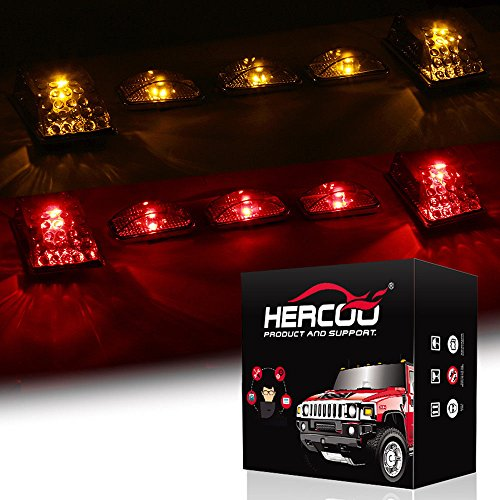 HERCOO Smoke Roof Cab Marker Clearance LED Lights Aftermarket Replacement for 2003-2009 Hummer H2(Amber & Red - H2 Led Hummer Roof