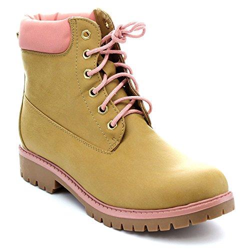BELLAMARIE DENVER-18 Women's Classic Round Toe Lace Up Stitching Short Boots, Color:CAMEL, Size:7