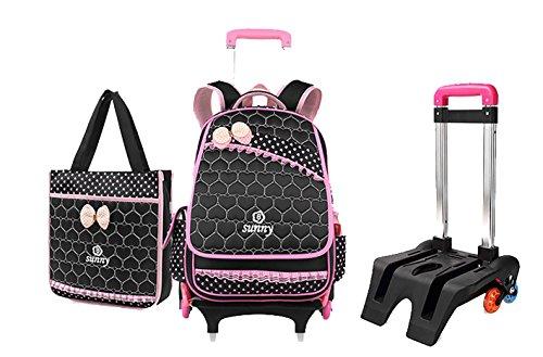 Bag Black Trolley (Meetbelify Rolling Backpacks For Girls School Bags Trolley Handbag With Lunch Bag Black)