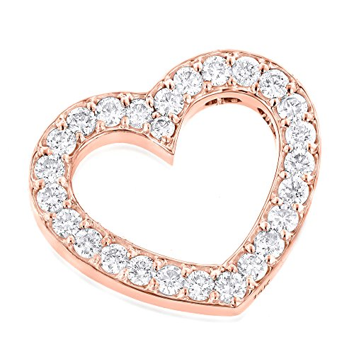 Luxurman Unisex 14K Round Natural Diamond Floating Heart Pendant (Rose Gold) (Gold Diamond Solid Floating)
