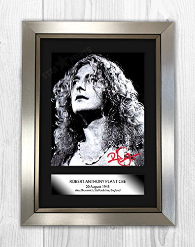 (Robert Plant Signed Autograph Reproduction Photo A4 (Silver Frame))