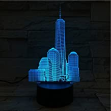 3D Optical Illusion Night Light - 7 LED Color Changing Lamp - Cool Soft Light Safe For Kids - Solution For Nightmares - City Skyline