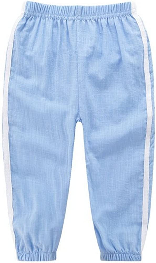 Gentle Meow Comfortable Soft Childrens Trousers Light Blue and White