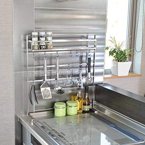 足立製作所『18-8ステンレス キッチンツールハンガー 棚付き』