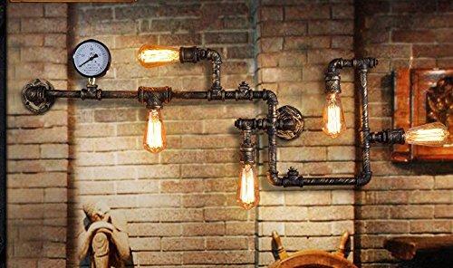WYMBS Sepia industrielle Wandleuchten Balkon Restaurant und Bar Bügeleisen pipe Wandleuchten,