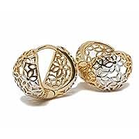 1-2681-f7 18kt Brazilian Gold Layered Two Tone Flower Design Huggie Hoop Earrings. 11mm wide x 17mm diameter.