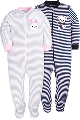 (BUNNY MINI Baby Boys Footed Pajamas Cotton Sleepers Yarn-Dyed Striped Pajamas Set(12-18 Months,Rabbit/Bear))