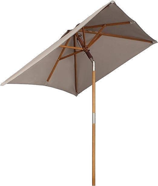 Sekey® sombrilla Parasol de Madera para terraza jardín Playa Piscina Patio 200 × 150 cm Crudo rectángulo Protector Solar UV50+: Amazon.es: Jardín