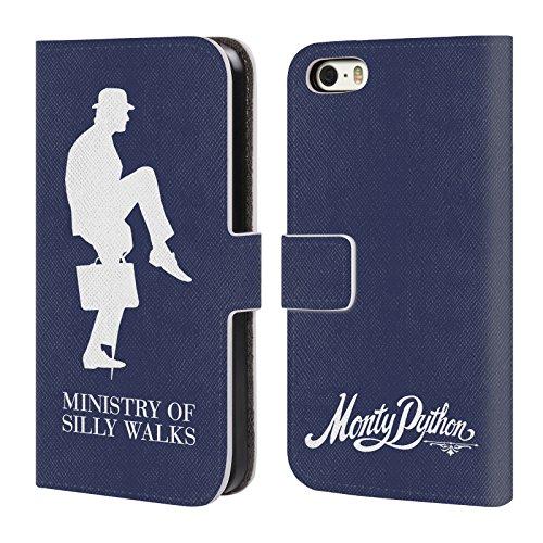 Officiel Monty Python Ministère De Promenades Idiotes Art Clé Étui Coque De Livre En Cuir Pour Apple iPhone 5 / 5s / SE