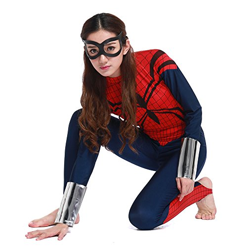 [POP Style Women's Halloween One Piece Long Sleeve Spidergirl Cosplay Costume (XL)] (Halloween Spider Costumes)