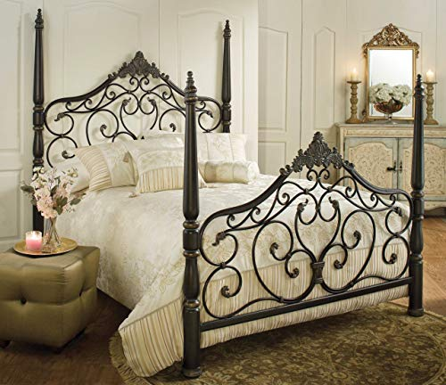 Hillsdale Furniture 1450BKR Parkwood King Bed Set with Rails, Black Gold Finish (Poster Furniture Bedroom Set)