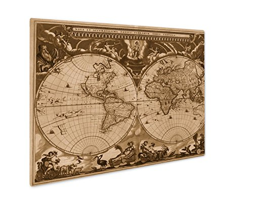(Ashley Giclee Map of Ancient World Old Retro Ancient Grunge History Historic, Wall Art Photo Print On Metal Panel, Sepia, 8x10, Floating Frame, AG5810674)