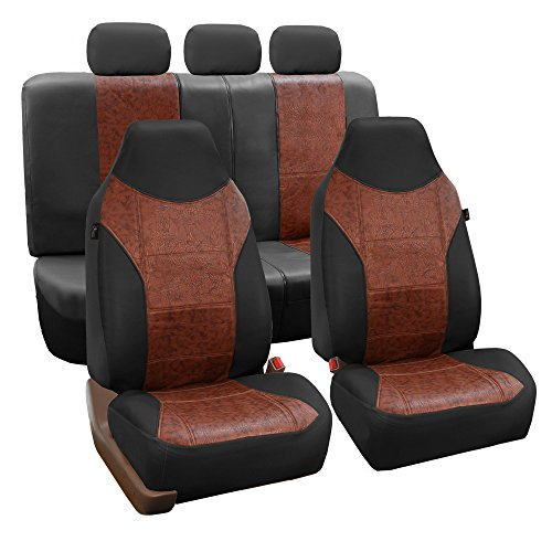 FH Group FH-PU160115 PU Textured High Back Leather Seat Covers, Brown/Black (Airbag Compatible & Split Bench) W Fit Most Car, Truck, SUV, or Van