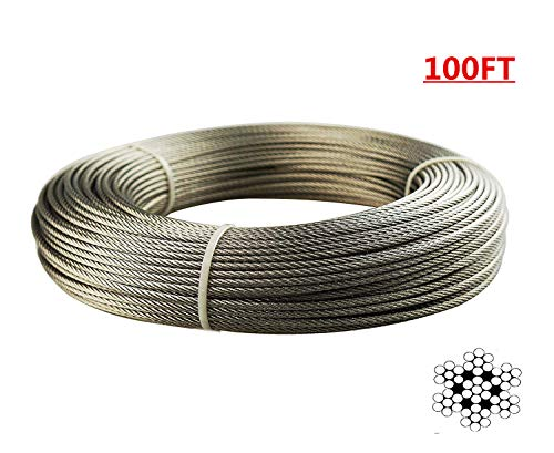 (Jimeternal Stainless Aircraft Steel Wire Rope for Fence,Railing,Decking, 1/8Inch 7x7 100Feet T316 Grade)