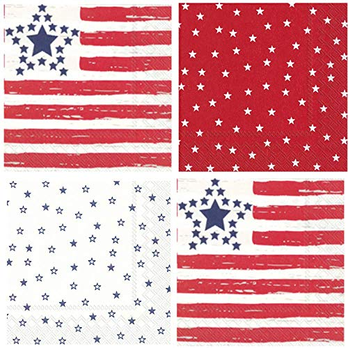 Patriotic Stars Stripes Flag Red White Blue Cocktail Napkins 40 Count Variety Pack (A Flag With Red White And Blue Stripes)