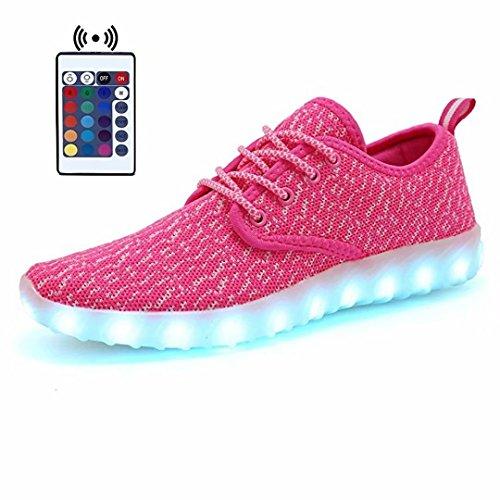 Tissus Avec Chaussures Homme Respirent Femmes Couleur Low Top Charge Baskets KEALUX USB Noctilucent Sport Lacer Télécommande Clignotante LED 7 TZP8RZ