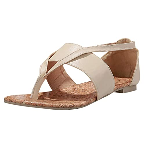 f34e8e93d1b Modaworld Sandalias Planas Mujer Sandalias Romanas para Mujer de Moda Sandalias  Planas de Verano con Clip de Dedo del pie Chanclas Zapatos de Playa con ...