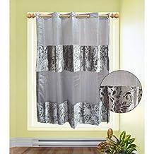 Organza Velvet Silver Curtain Single Panel