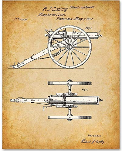 (Machine Gun - 11x14 Unframed Patent Print - Makes a Great Gift Under $15 for Gun or Civil War Enthusiasts)