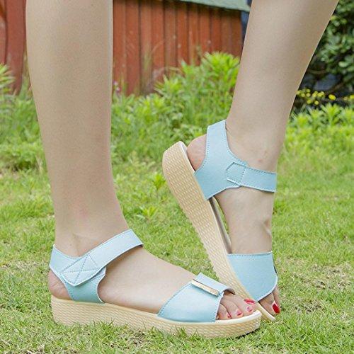Elevin (tm) Kvinner Våren Sommeren Åpen Tå Komfort Sko Flat Plattform Sandaler Sko Himmelen Blå