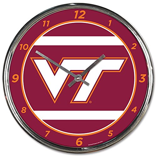 (Wincraft Virginia Tech Hokies 12 inch Round Wall Clock Chrome Plated)