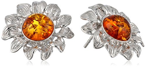 Rhodium Plated Sterling Silver Honey Amber Sunflower Stud Earrings