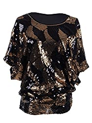 Loose Fit Sequin Dolman Sleeve Evening Blouse