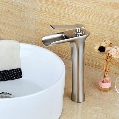 LightInTheBox Contemporary Waterfall Vessel Single Handle One Hole in Nickel Brushed Bathroom Sink Faucet