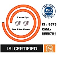 Sunlight LPG Gas Pipe with ISI and ISO Certified-3 Meter,Steel Reinforced Rubber Gas Pipe (3M,Orange)-5 Year Warranty