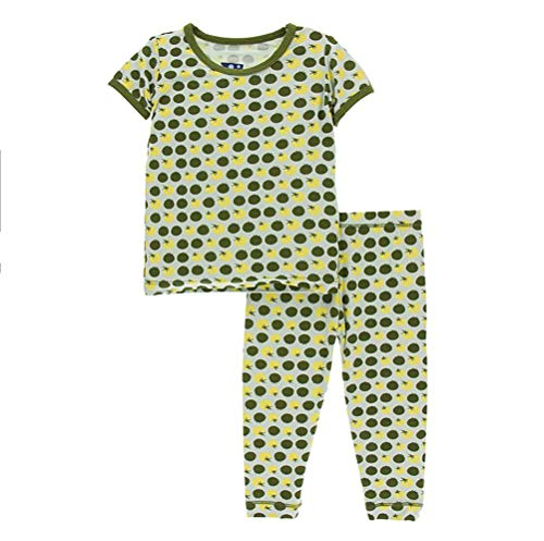 Kickee Pants Little Girls and Boys Print Short Sleeve Pajama Set - Aloe Tomatoes, 2T