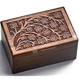 "Beautifully Handmade Tree of life Engraved Wooden Cremation Urns for Human Ashes Adult by STAR INDIA CRAFT - Dark Brown Wooden Keepsake Urns, Memorial Urns for Pets Ashes (Small - 6 x 4 x 2.75 "")"