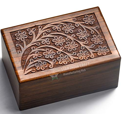 Engraved Wooden Box - STAR INDIA CRAFT Beautifully Handmade Tree of Life Engraved Wooden Cremation Urns for Human Ashes Adult Dark Brown Indian Rosewood Memorial Pet Urns for Dogs,Wood Box (Medium - 7 x 5 x 3.75)