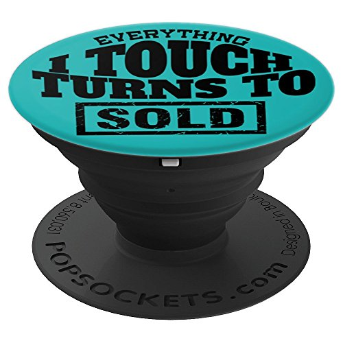 (Funny Real Estate Agent Black Lettering Art on Teal PS13774 - PopSockets Grip and Stand for Phones and Tablets)