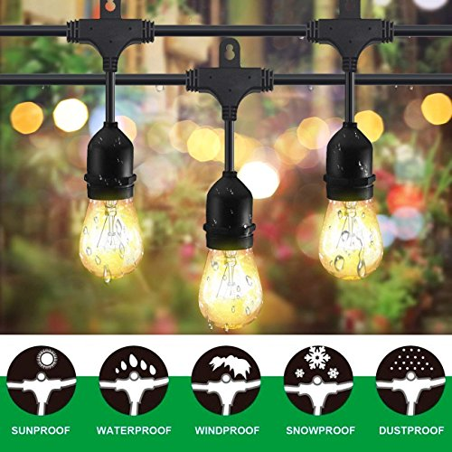 Classyke 48ft Indoor Outdoor String Lights for Patio Garden Yard Deck Cafe Dimmable Weatherproof Commercial Grade [UL Listed] - Incandescent (Deck Traditional Outdoor)