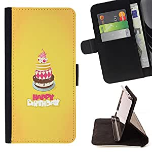 DEVIL CASE - FOR Samsung Galaxy S5 V SM-G900 - Cake Happy Birthday Yellow Sweet - Style PU Leather Case Wallet Flip Stand Flap Closure Cover