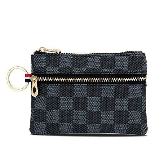 Triple Zip Checkered PU Vegan Leather Mini Coin Purse Key Ring Wallet Card Case (Blue)