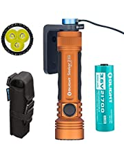 Olight Seeker 2 PRO 3200 Lumens LED Flashlight Magnetic USB Rechargeable 21700 with Battery Power and Brightness Level Indicator (Orange, Limited Edition)